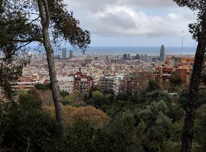 The view of Barcelona from Parque del Guinardó. You can see Torre Agbar (the bullet-shaped tower) towards the right side of the photo.
