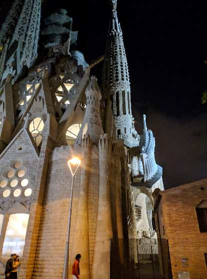 La Sagrada Familia at night.