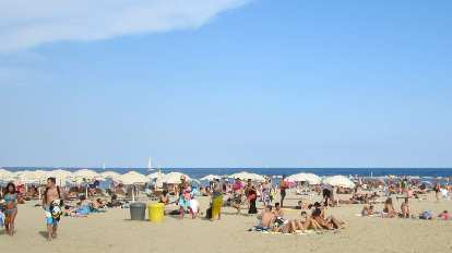 At Barceloneta beach.