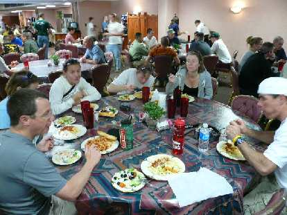 Our whole gang at the all-you-can-eat pasta feed on base the night before the Death March.