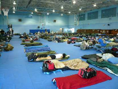 This is where we slept: the gymnasium at the White Sands Missile Base.