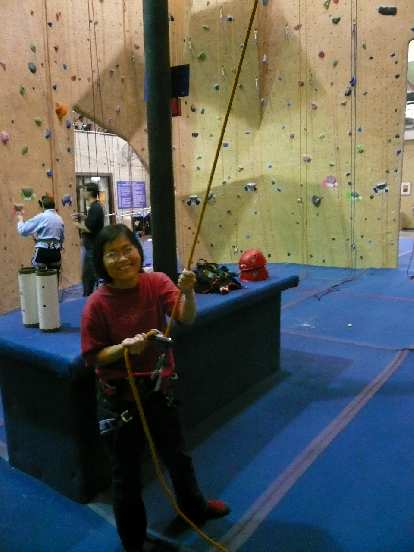 Stacey on belay at Planet Granite.