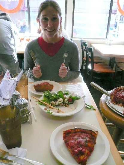 Lisa and I had some deep-dish pizza at Zacchary's in Albany, CA.  Delish!