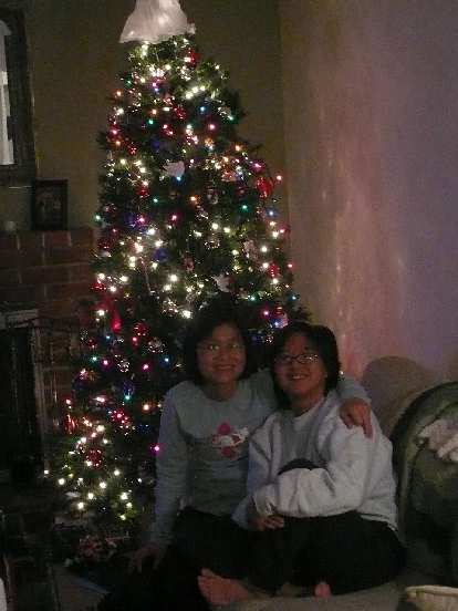 Stacey and Ann with their x-mas tree.