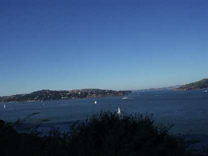[Mile 162, 6:51 p.m.] At least the view was good, this being of Treasure Island and Alcatraz.
