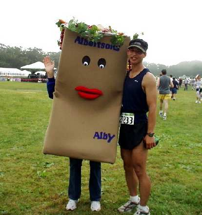 Felix Wong with Albertson's shopping bag named Alby at the end.