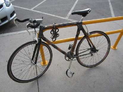 A bamboo bicycle outside the Bean Cycle in Fort Collins.