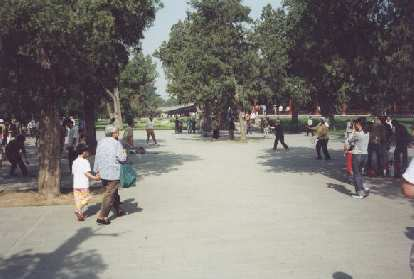People playing badminton at the Temple of Heaven.
