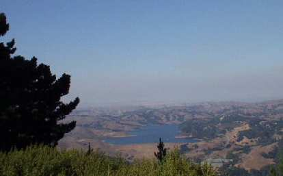 """The easterly view from Vollmer Peak: San Pablo Dam.  I'm glad to report that getting here did not feel like """"death""""!"""