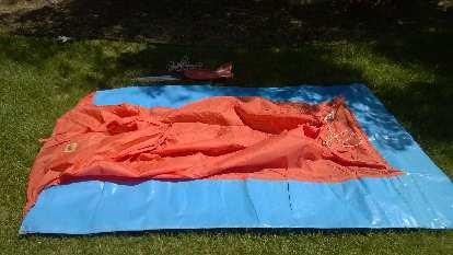 blue and orange plastic 2-person tent