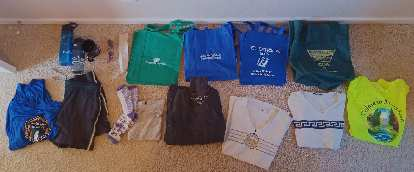 Shirts and cloth bags for donation.