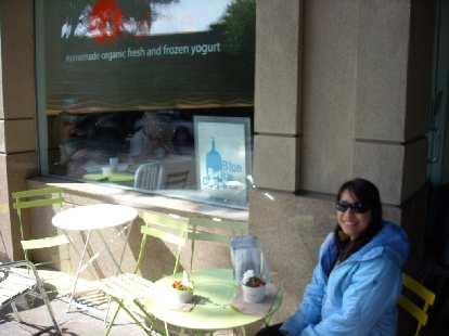 Alyssa is a big frozen yogurt fan, preferably organic.  Here she is having some for breakfast at Fraiche in Palo Alto.