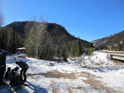 The Big South Trail parking lot.  There wasn't a whole lot of snow but enough to try x-country skiing.
