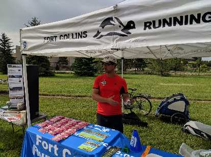 Brad Bishop at the Fort Collins Running Club's Bike to Work Day station.