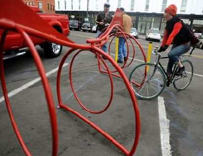 The New Belgium bicycle racks that are in various places in Old Town Fort Collins.