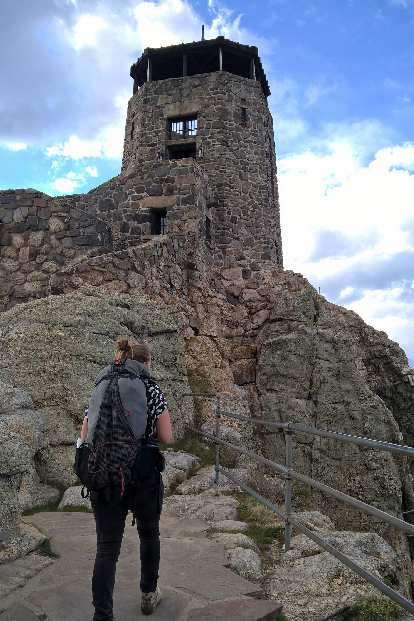 The stone lookout tower at the top of Harney Peak.
