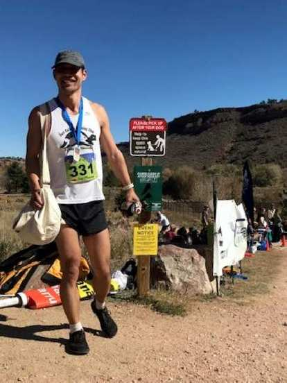 Felix Wong is all smiles at the finish of the 2018 Blue Sky Trail Marathon.