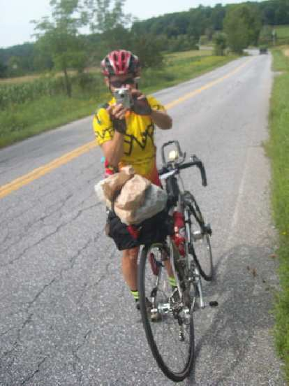 [Mile 517] I ran into Susan---the organizer of this year's mass-start BMB Permanent---on the way to Middlebury, Vermont. She was sick the first couple days, she was still on her way out to Montreal at Mile 236.