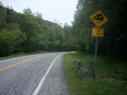 [Mile 535] Made it to the top of Middlebury gap.  Average 12% downhill grade for the next mile or two.
