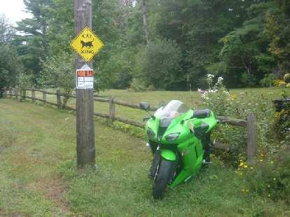 [Mile 676] Near Lake Mattawa in Orange, Massachusetts was this nice 2007 Kawasaki Ninja ZX-6R for sale.