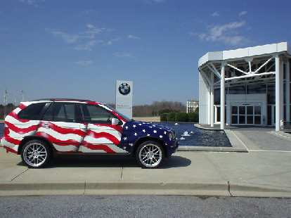 Here I was greeted by a star-spangled BMW X5 SUV.  Entrance to the museum and gift shop is free (factory tours are just $3.50, I think.)