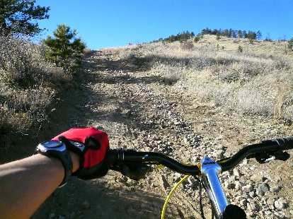 Going up Powerline Road.  It was steep and I actually had to dismount and walk a lot.