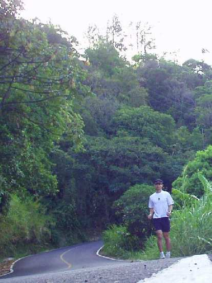 The road in front of the B&B climbed into the adjacent mountains right away.  I did a hill run a couple of days here.