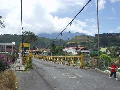 The yellow bridge we walked on everyday near the B&B had great views of the surrounding mountains and Volc