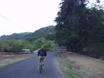 Tori leads the way back into town.  As it was all downhill, we virtually did not have to pedal the entire time.