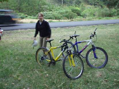 Tori and our Huffy-level rental bikes.