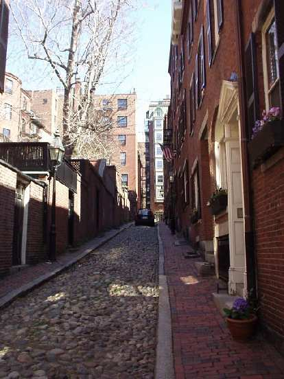 "Acorn St. in Beacon Hill is narrow and is comprised solely of cobblestones, making it ""the most photographed road in Boston""."