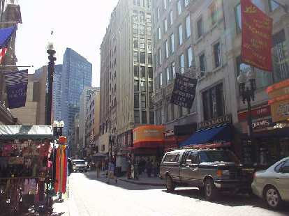 There were several sidewalk merchants along Washington Street from the Government Center to Chinatown.