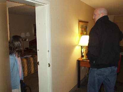 Back at the Comfort Inn, we discovered quite comedically that Sharon's room was connected to Russ' & my room through a side door.  But everytime someone would knock we would open the wrong door!