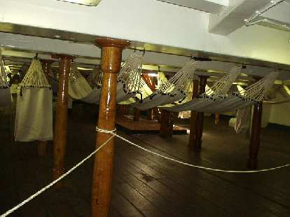 The sleeping quarters on the lowest (third) floor) of the USS Constitution.