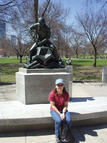 "Sharon in front of an ""Industry"" statue in Boston Common."