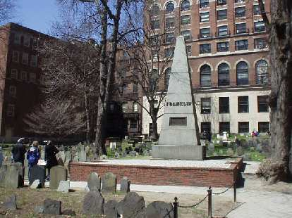 Many notable people from the 18th century were buried at Granary Cemetery including the mother of Benjamin Franklin, Paul Revere, Samuel Adams, and many more.