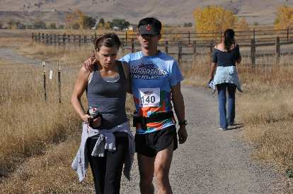 [Mile 97.5, 10:48 a.m.] I was so exhausted during the last lap that at times I resorted to leaning on Leah.