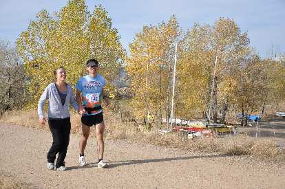 [Mile 94, 9:48 a.m.] About the only time I was smiling while running during the last 20 miles of this absurd 100-mile run.