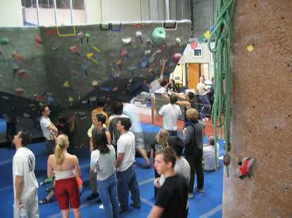 """Last of City Beach's """"Brave the Elements"""" bouldering series.  Here we are (Ashley, Frances, Eric, Felix, and many others) watching others at the start of the comp."""