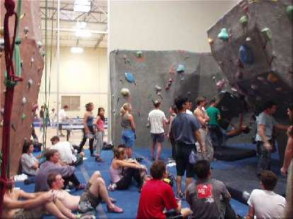 "40 or so hardy climbers came to compete in City Beach Fremont's bouldering competition, the first of their ""Earth-Wind-Water-Fire"" series."