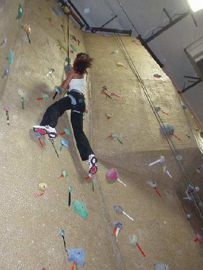 Here's Jennel on the wall, rock climbing for the very first time in her life.  I think it was Fatima's first time since I last took her 3 years ago!