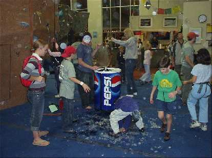 """Oops... this was the result of a little accident occurring while trying to transport a drink barrel across the padded floor. """"Free beer!"""""""