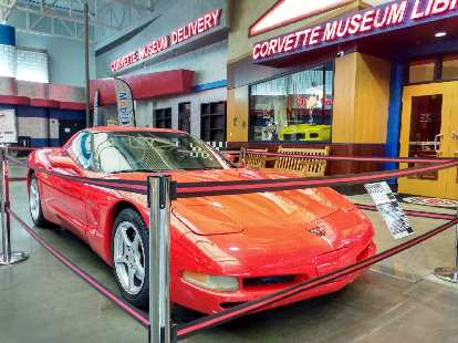 A red C5 Corvette with well over 773,338 original miles that was donated to the National Corvette Museum in Bowling Green, Kentucky..