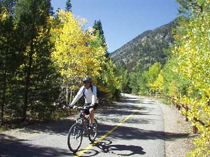 Mike along another glorious stretched lined with yellow and green aspen.