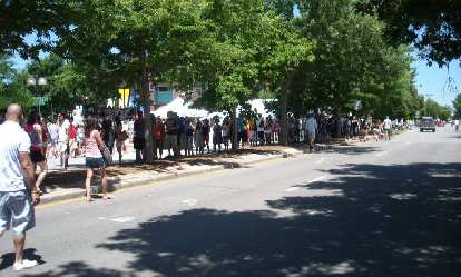 The line to Brewfest was crazy.  It went beyond the traffic lights at the far right.