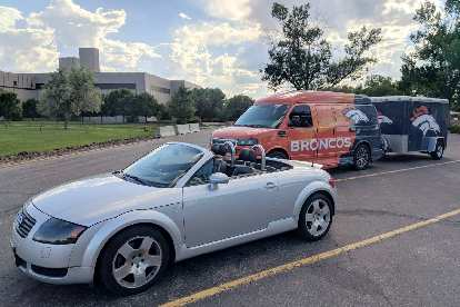 My Audi TT Roadster with a Broncos van at Anheuser-Busch.