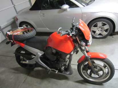 Ready to head to the local motorcycle shop to have the new front tire installed for $50.