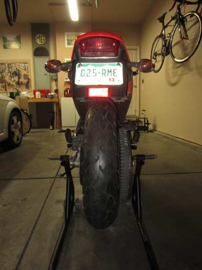 The Pirelli ST66 installed on the rear.