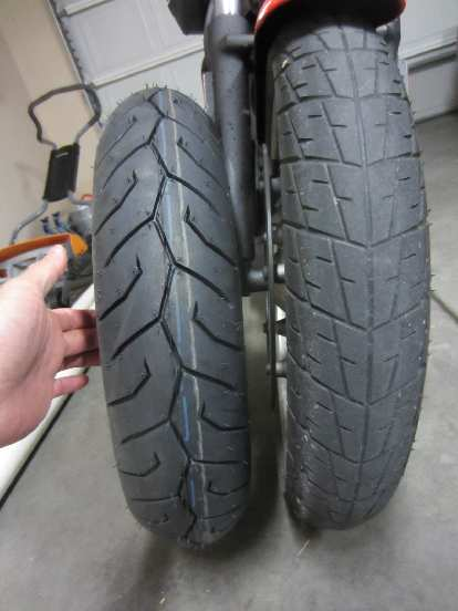 """The Pirelli Diablo Scooter 110/70-16 front tire is about .5"""" wider than the stock Dunlop K330 100/80-16."""