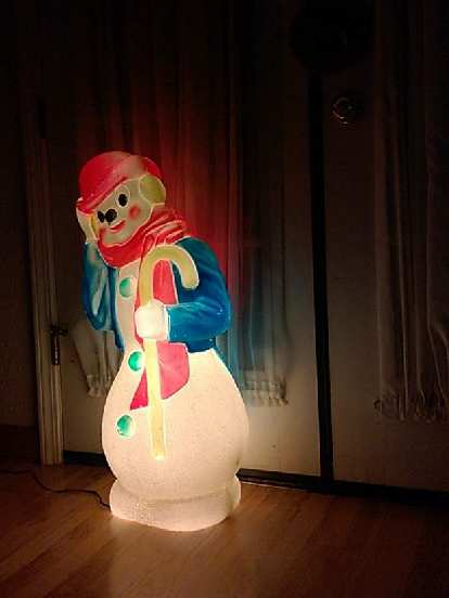 Frosty the Snowman light at my parents' house.